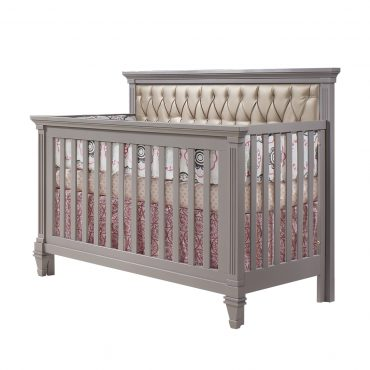 Belmont 4 in 1 convertible crib in elephant gray With white tufted panel