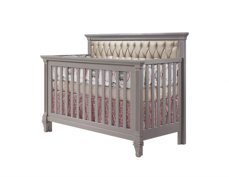 Belmont convertible crib in elephant gray With white tufted panel